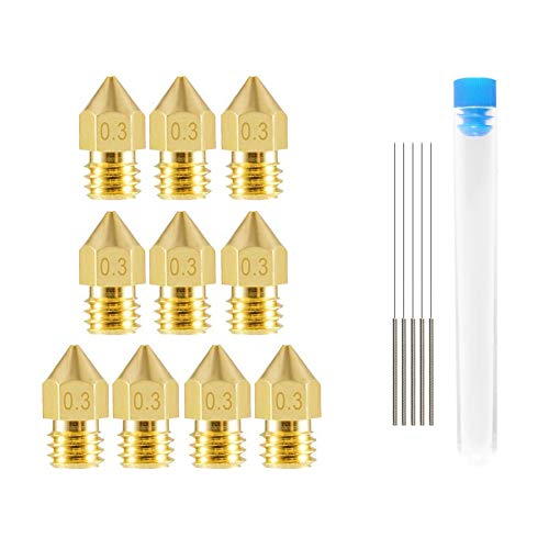 Alinan 10 Pcs 0.3mm 3D Printer Nozzles Brass Extruder Nozzles for MK8 and 5 Pcs 0.25mm Stainless Steel Nozzle Cleaning Needles for Makerbot MK8 Creality Ender 3 CR-10 Anet A8 3D Printer