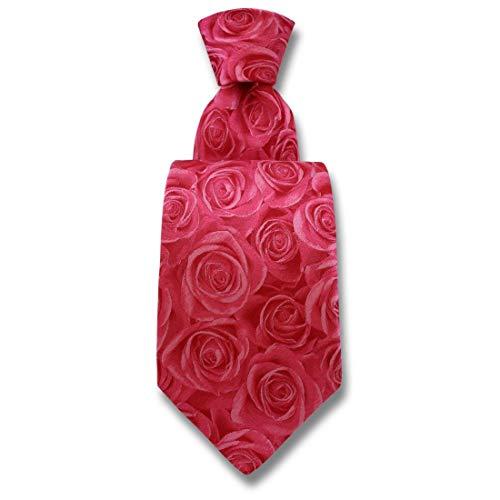 Robert Charles. Cravate. Fleur de rose, Soie. Rose, Fantaisie. Fabriqué en Italie.
