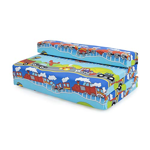 Ready Steady Bed Childrens Double Fold Out Z Bed Sofa Transport, Cotton, Blue, Three_Seats