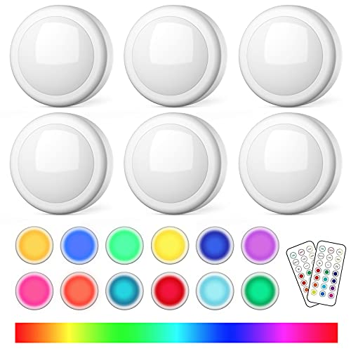 semsmoks Battery Operated LED Lights with Wireless Remote, 13 Color RGB - for Closet, Bedroom Wall, Under Kitchen Cabinet, Battery Powered Puck Light. Convenient 3M Stick On, Big Size 6 Pack