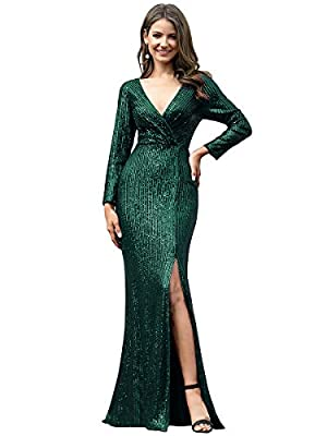 Ever-Pretty Women's Long Sleeve Deep V-Neck Sequin Slit Cocktail Gowns Sequin Dress Dark Green US22