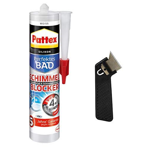 Pattex Perfektes Bad Schimmel Blocker Silikon, weiß, Sanitärsilikon mit 4-fach-Schutz gegen Schimmel, 5 Jahre garantiert saubere Fugen, Spar-Set mit 1x300ml, 1x Fugenkratzer Fugenhai, 9HPFSBWP1X