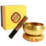 campana tibetana per meditazione 8cm campane tibetane 7 metalli antica fatta a mano,percussione di legno favorisce la serenità,guarigione dei chakra e la consapevolezza (8 cm)