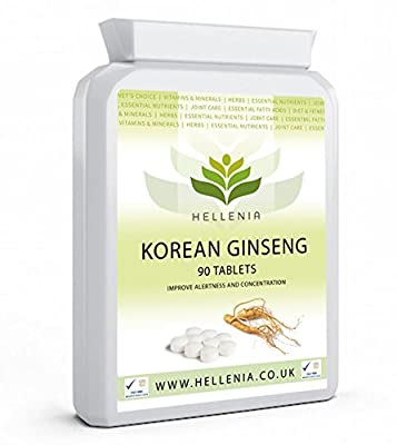 Korean Ginseng (Panax) 25mg Extract - 90 Tablets - Support Energy Metabolism - Reduces Tiredness and Fatigue