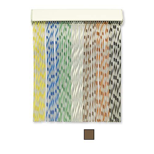 Cortinas Exterior Puerta de Cordon | Material Plastico PVC y Barra Aluminio | Ideal para Terraza y Porche | Antimoscas | Marrón | 210 * 120