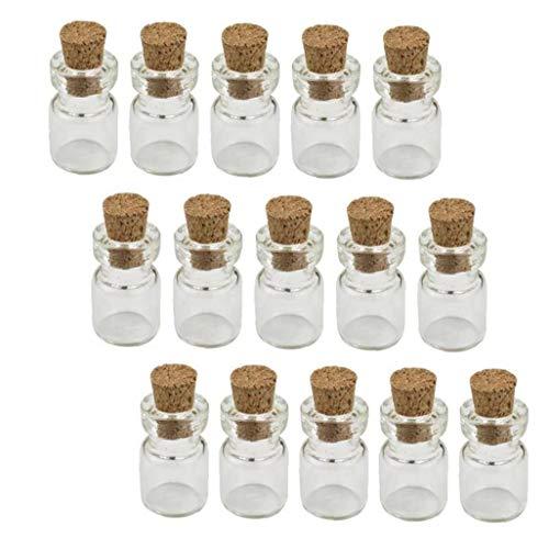 Mini botella de cristal con tapón de corcho para deseos DIY botellas en miniatura tapones de corcho tarros de vidrio 0,5 ml 50 piezas de productos para el hogar