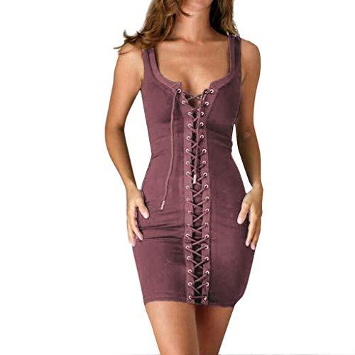 AmyGline Sommerkleid Damen Kleider Ärmellos Bodycon Kleid Schnüren Korsett V-Ausschnitt Bandage Sexy Minikleid Club Partykleid