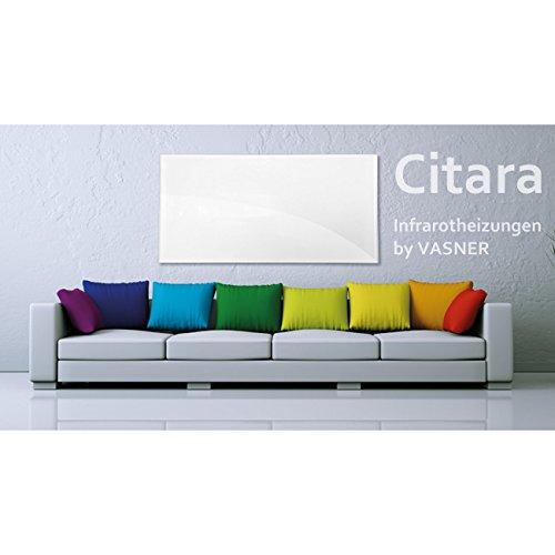 VASNER Citara Glas Infrarotheizung 450 Watt weiß 62x62cm Wandmontage Sicherheitshalterung Bild 4*