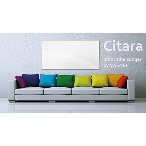 VASNER Citara Glas Infrarotheizung 450 Watt weiß 62x62cm Wandmontage Sicherheitshalterung Bild 6*