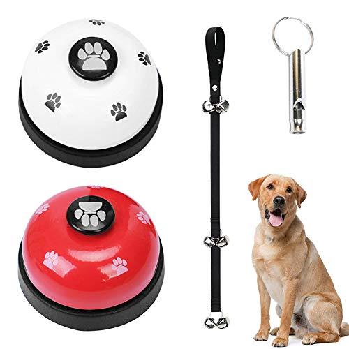 YUIP Haustier Trainingsglocke 2 Stück Hund Türklingeln Ausbildung Glocken ,1 Stück Hund Türklingel für Puppy Toilet ,1 Stück Whistle Töpfchen Trainings und Kommunikationsgerät mit Paw Größe Button
