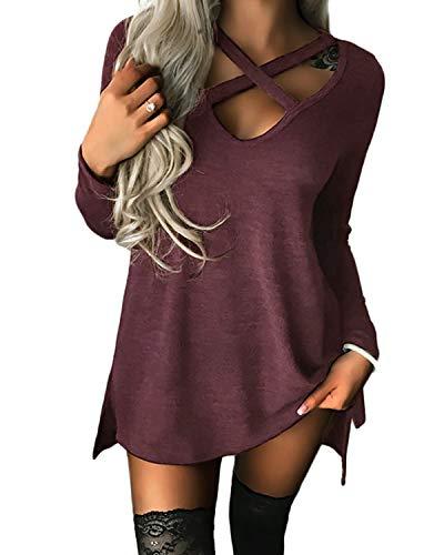 Yoins Jersey para mujer de manga larga y hombros descubiertos con cuello de pico, sexy, para otoño Color rojo vino. XL