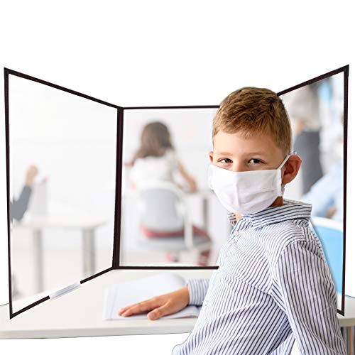 Risch - Shield – Desk Desk Shield - Portable Clear Vinyl Protective Shield for Use in Classrooms, on Desks or at Tables- 14.5' x 19.5' - Made in USA