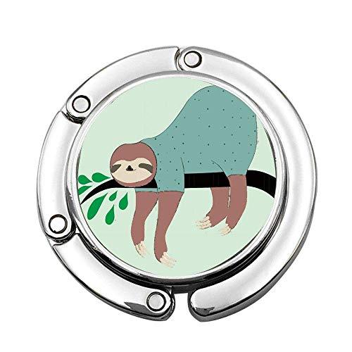 Perezoso de Dibujos Animados en el árbol con Hojas Colgador de Bolso Plegable Soporte para Monedero Colgador de Mesa para Mujer