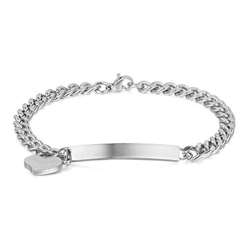 JewelryWe Bijoux Bracelet Femme Polissage Gravure Personnaliser Coeur Gourmette Acier Inoxydable Fantaisie Couleur Argent avec Sac Cadeau