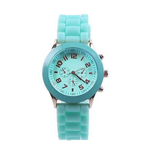 Flytise Reloj de Cuarzo clásico Reloj de Pulsera Unisex con Correa de Silicona Relojes Informales Ligeros Reloj analógico Impermeable Diario