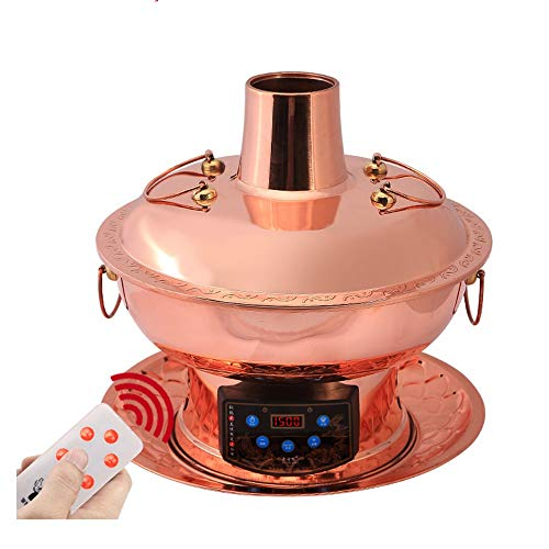 41PntHAnF0L - Lamyanran Fondue-Fritteusen Multi-Funktions-Old Beijing Chinese Große Kupfer Traditionelle Holzkohle Hot Pot, Dual-Use-Elektro Charcoal Hot Pot mit Fernbedienung (Size : 32cm)
