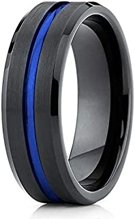 TosowebOnline Mens 8mm Beveled Edge High Polished Wedding Band with Mahogany Wood Inlay Center Comfort Fit Tungsten Carbide Anniversary Ring