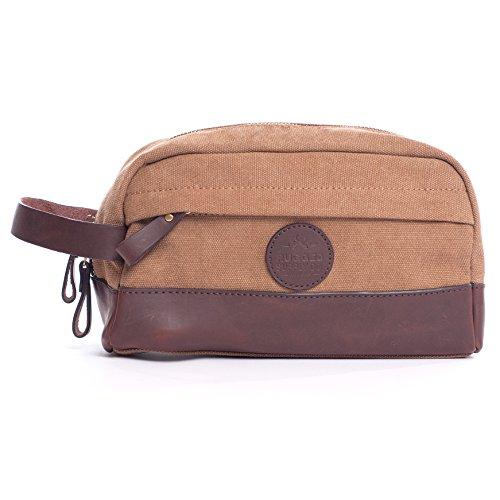 Bolsa de aseo vintage Dopp Kit – Cuero auténtico y lona duradera de 16 oz hecha a mano por Rugged Hombre Supply Co.