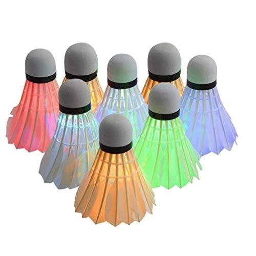 TOYANDONA 8 Pz LED Volani Volano Illuminazione Volano Bagliore nel Buio Volani per Interni attività Sportive All'aperto Accessori