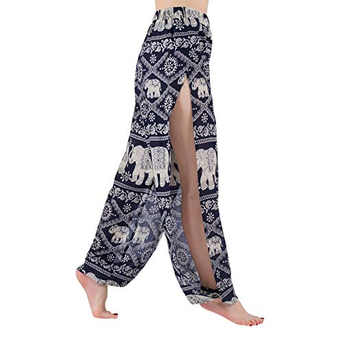 LOFBAZ Pantalones de yoga Harem de alta abertura para mujer, pantalones de playa - azul - Large