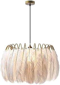 KFDQ Candelabros para el hogar, lámpara colgante de plumas modernas, pantalla de iluminación colgante de techo de plumas blancas E27, candelabro romántico para decoración del hogar para dormitorio, c