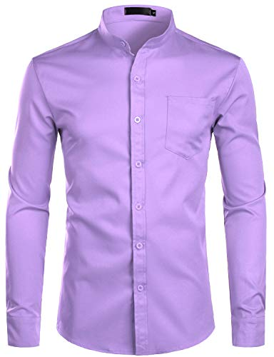 ZEROYAA Men's Banded Collar Slim Fit Long Sleeve Casual Button Down Dress Shirts with Pocket ZLCL09 Lavender XX-Large