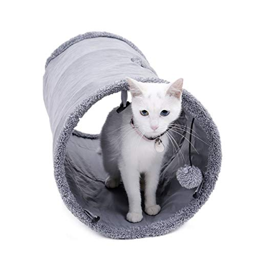 Speedy Pet Collapsible Cat Tunnel, Cat Toys Play Tunnel Durable Suede Hideaway Pet Crinkle Tunnel with Ball S