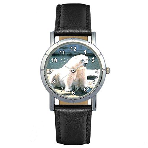Timest - Oso Polar - Reloj para Mujer con Correa de Cuero Negro Analógico Cuarzo SA1461