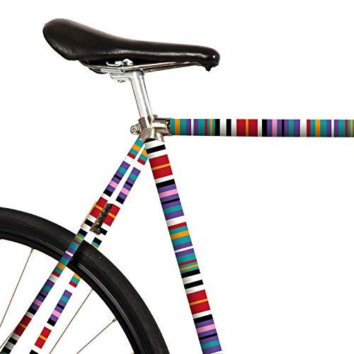MOOXIBIKE Streifen Mint Mini Fahrradfolie mit Muster für Rennrad, MTB, Trekkingrad, Fixie, Hollandrad, Citybike, Scooter, Rollator für circa 13 cm Rahmenumfang