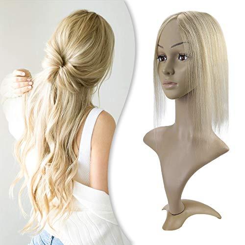YoungSee Remy Extensions Echthaar Topper Clip in Haarverlangerung Dark Aschblond mit Blond Strähnchen 5