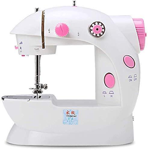 SEESEE.U Máquina de coser portátil pequeña y portátil, máquina de coser portátil, mini overlocker máquina de coser portátil, doble cable, pedal de dos velocidades, peso ligero