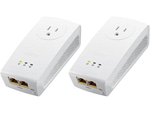 ZyXEL Pass-Thru Ethernet Adapter AV1000 1000 Mbps Powerline 2-port Gigabit 2-Pack [PLA5256KIT]