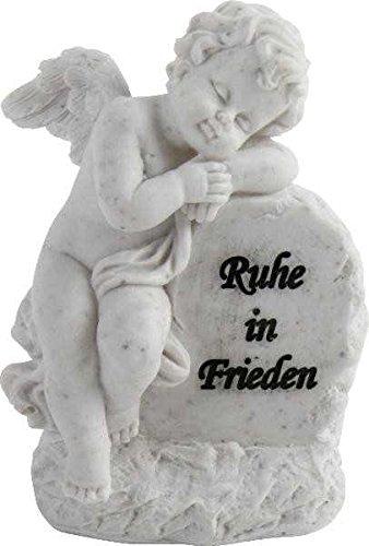Engel an Spruchstein mit Aufschrift Ruhe in Frieden Grabschmuck Grabengel Trauerschmuck Trauerengel Grabfigur Trauerfigur Gedenkstein