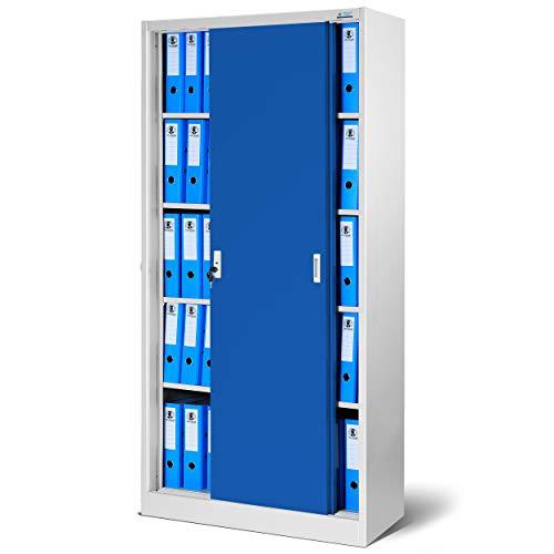 Domator24 Armario metálico SD001 Mueble de Oficina Archivador con Puertas correderas, Cerradura, Selección de Color 185 cm x 90 cm x 40 cm (Gris/Azul)