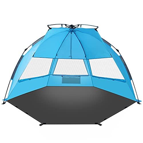 TAGVO Pop Up Tente de Plage avec Porte D'entrée XL Personnes Abri de Soleil Facile à Installer Facile à démonter, Auvent de Plage léger et portatif, Protection Solaire UPF 50 Plus 3 Fenêtres