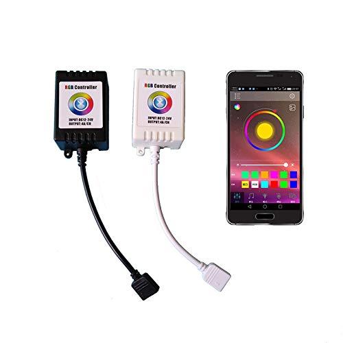 APP controlador de lámpara de ambiente colorido 12V-24V Bluetooth manual de control remoto con el controlador de luz RGB LED (Color : BLACK)
