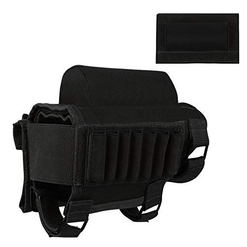 FUNANASUN Tactical Buttstock Cheek Rest with Rifle Shell Holder for 7.62.308.300 Winmag (Black)
