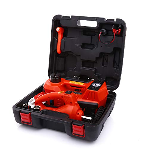 STANDTALL Electric Car Jack 5 Ton 12V Hydraulic Car Jack with Impact Wrench for Tire Change & Replacement and LED Light Portable Car Repair Tool Kit