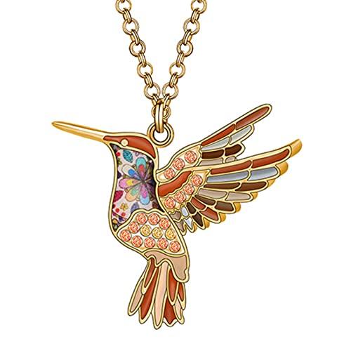 HJURTB Collar con Colgante de pájaro colibrí con Diamantes de imitación de aleación esmaltada, joyería de Cadena de Cristal para niñas Adolescentes, Regalo de Fiesta para Chico