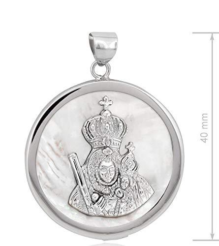 Huescar Joyeros Medalla Virgen de la Cabeza en Plata de Ley y nácar.