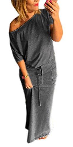 Sommerkleid Damen Lang Striped Oder Einfarbig Sleeveless Strandkleid Beach Kleid Partykleid Elegant Maxikleid Strandkleid (367) (L/XL, Graphte)