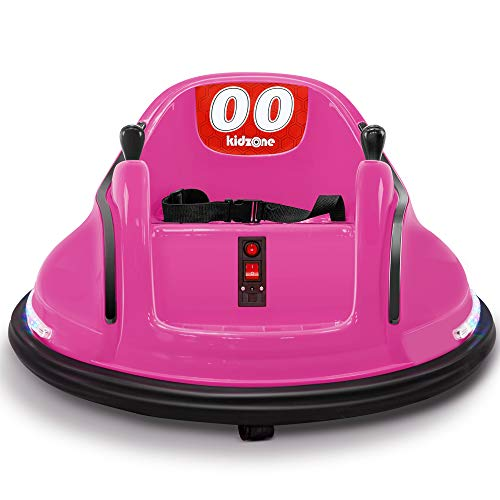 Kidzone DIY Race #00 6V Kids Toy Electric Ride On Bumper Car Vehicle Rechargeable Remote Control 360 Degree Spinning ASTM-Certified, Pink