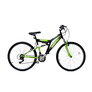 Mountain Bikes Basis 2 Full Suspension Mountain Bike 26″ Wheel 21 Speed Black Green