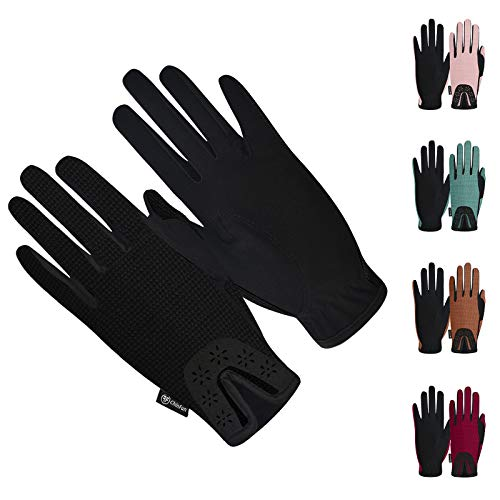 ChinFun Women Horse Riding Gloves Ladies Equestrian Gloves Anti-Slip Stretchable Sweat Absorbing Summer Winter Outdoor Sports Mittens Cycling Biking Driving Gardening Gloves Black Size S