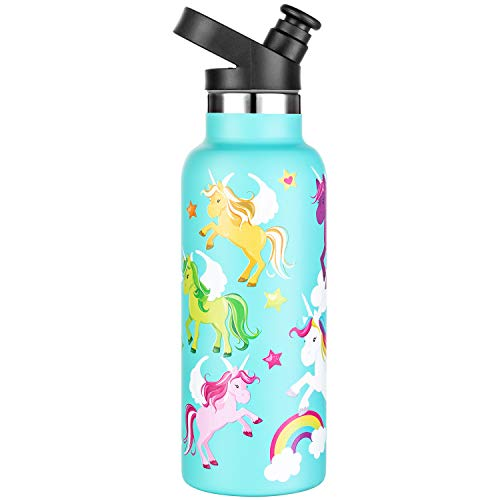 Unicorn water bottle for kids - perfect gift for Unicorn lovers - insulated stainless steel 550ml water bottle with finger ring - gift for Unicorn crazy kids - no drama Unicorn water bottle for sport and play