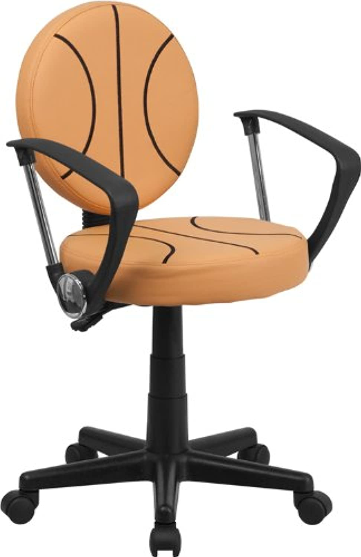 Flash Furniture BT-6178-BASKET-A-GG Basketball Task Chair with Arms, Black orange