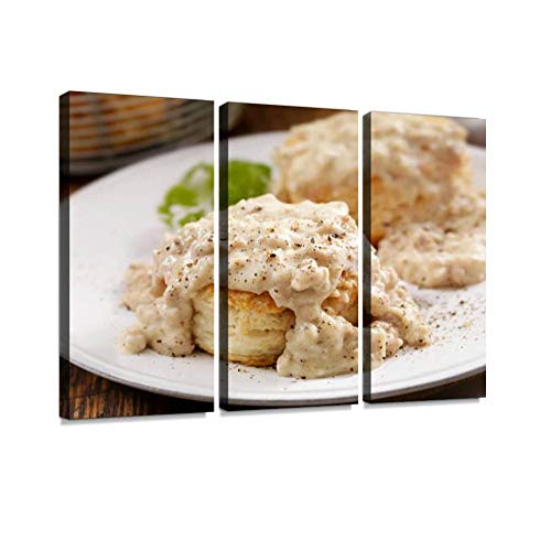 YKing1 Biscuits and Gravy Sausage Stock Pictures, Royalty Free Photos Wall Art Painting Pictures Print On Canvas Stretched & Framed Artworks Modern Hanging Posters Home Decor 3PANEL