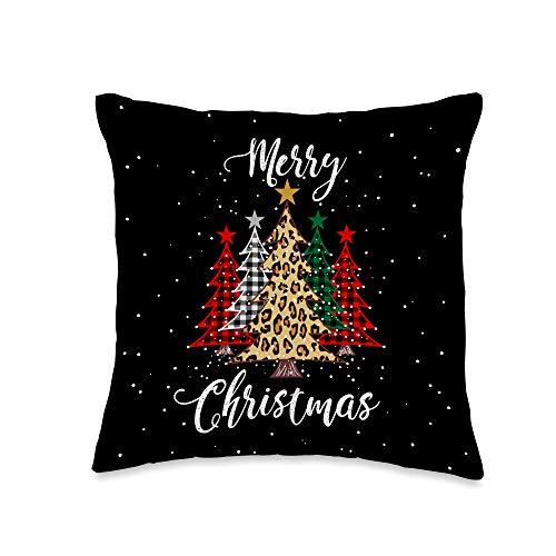Christmas Buffalo Plaid Santa Face with Hat Merry Christmas Trees with Buffalo Plaid & Leopard Design Throw Pillow, 16x16, Multicolor