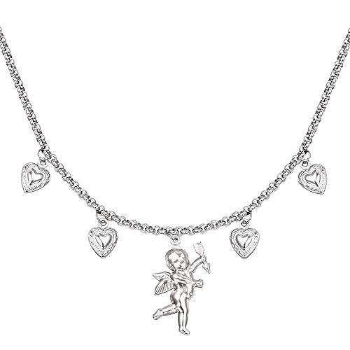 VAWAA Engeltjes Cupid Kragen kleine Engel Halskette Liebe Herz geformt Anhänger Hip Hop Disco ich Liebe Tanz Halsband Halskette Amulett Schmuck