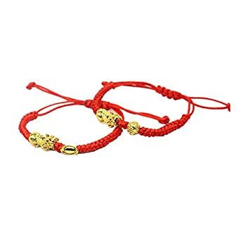 2 Pcs Pi Xiu Red String Bracelet Chinese Feng Shui Pi Xiu Kabbalah Red Rope Bracelet Gold Bead Handmade Strand Charm Bracelets Amulet for Men Women Good Luck Wealth Evil Eye Protection-Red A